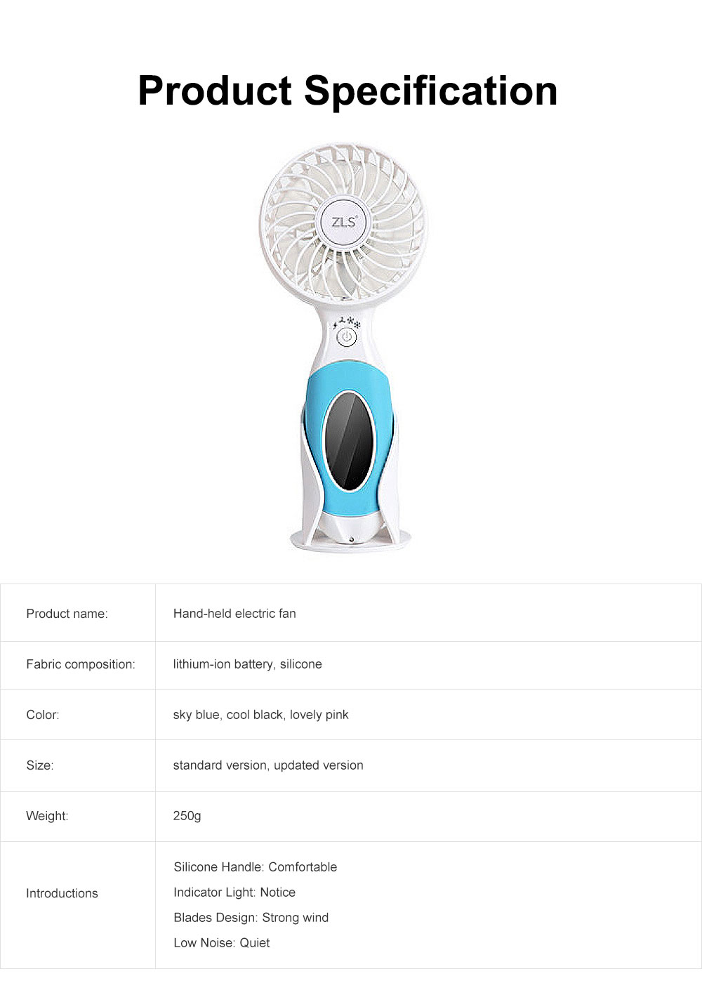 Hand-held Electric Fan, with High-quality Lithium-ion Battery and Skin-friendly Silicone Handle 6