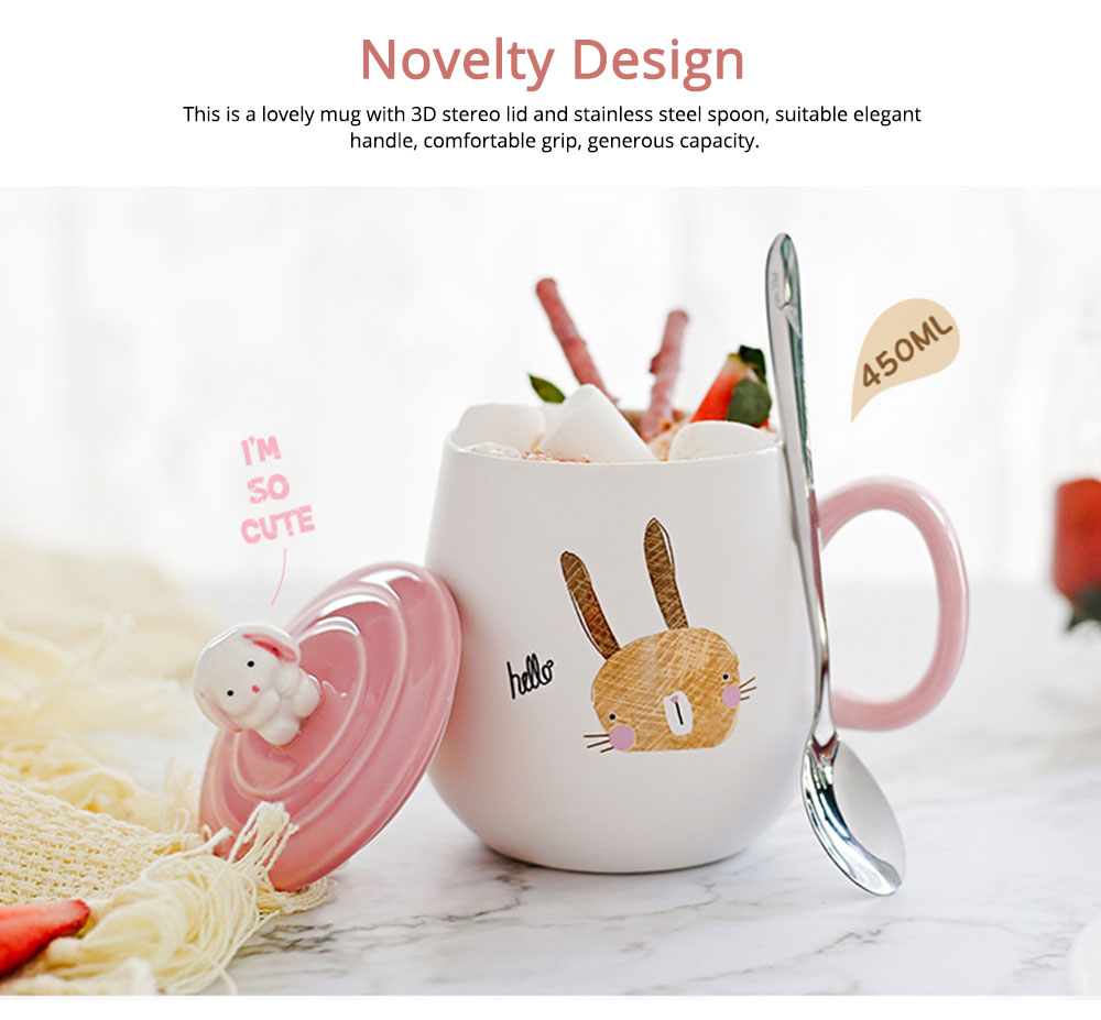 Ceramic Cups Lovely Mug Korean Style Couples Mug Lovely Breakfast Milk Cup Of Coffee Cups Porcelain Teacups Water Bowl With Cover And Spoon 2
