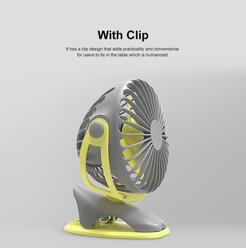 USB Rechargeable Desk Fan, Portable USB Fan with ABS and Silicone Material, Convenient Clip Design 3