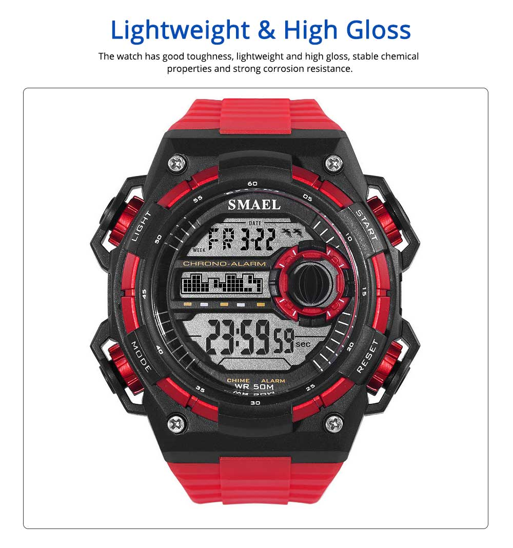 Outdoor Sports Watch, Waterproof Shockproof Stainless Steel Single Display Electronic Watches for Student Boy Men 4