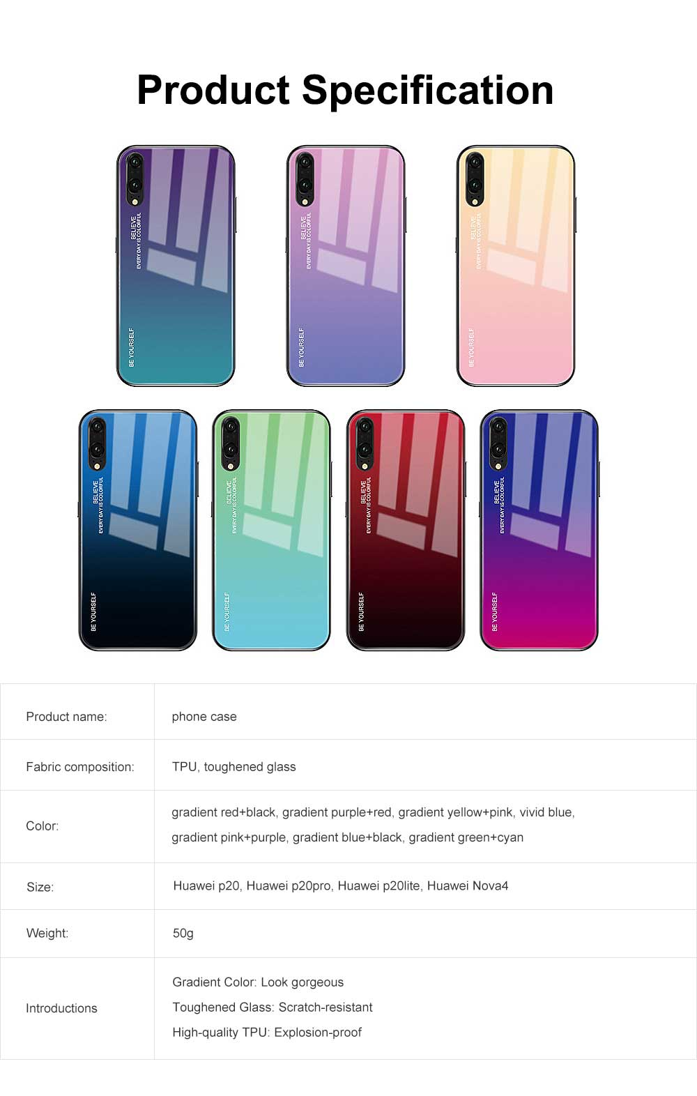 Gradient Phone Case for Huawei Nova 4, P20 Pro, P20 Lite, Explosion-proof and Scratch-resistant Case Cover with Toughened Glass and High-quality TPU 6