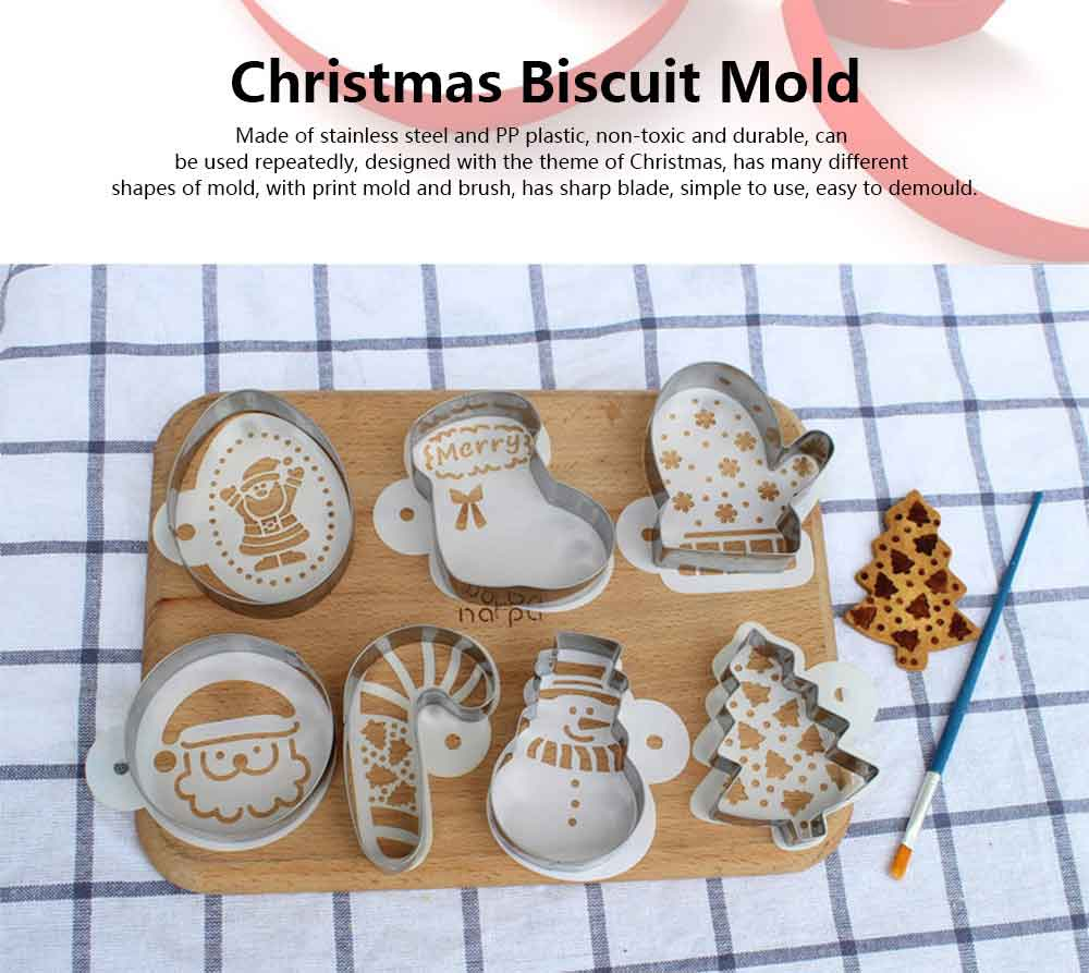 Stainless Steel Christmas Cookie Cutter Bakeware Mold Set for Cake, Chocolate, Jelly, Pudding, Dessert Mold 0