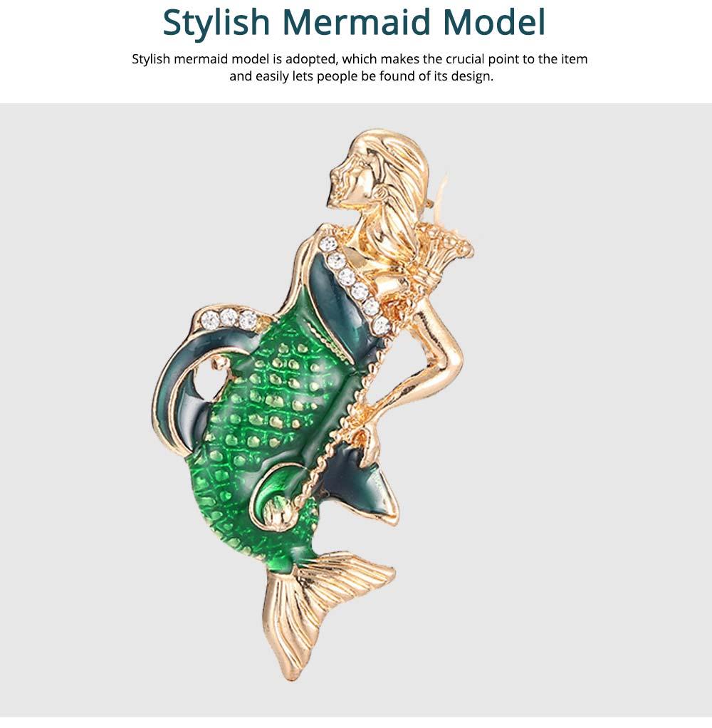 Creative Cute Cartoon Mermaid Breastpin with Rhinestone Decoration, Elegant Glaze Dripping Brooch for Ladies 4
