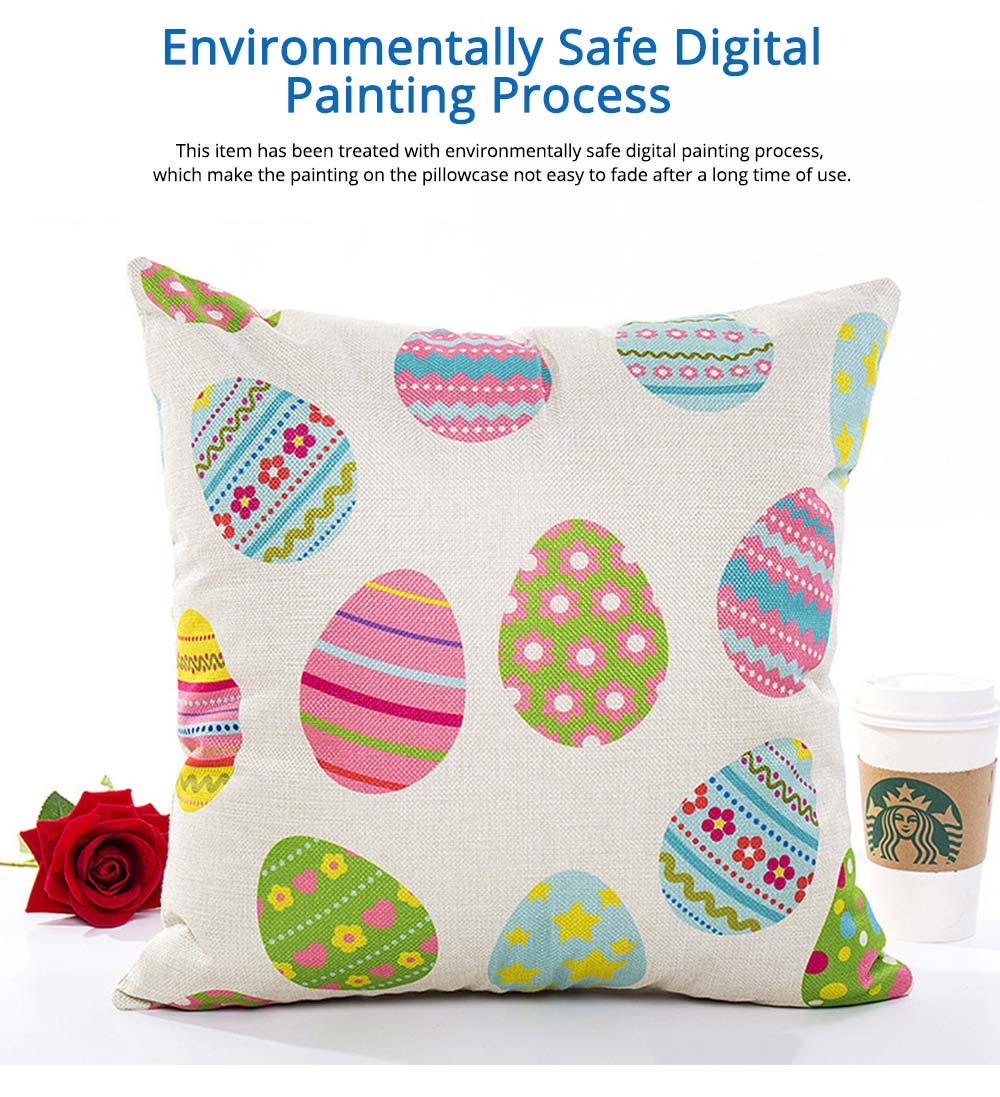 Cute Carton Easter Eggs Rabbit Pattern Linen Pillowcase, Colorful Painting Smooth Pillow Slip for Easter Day 2