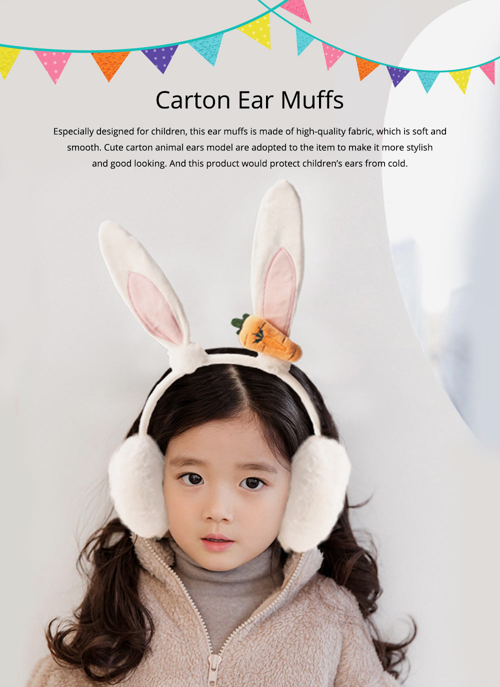 Cute Cartoon Animal Winter Ear Muffs for Children, Kids Warm Soft Fluffy Fleece Head Band Gift 0
