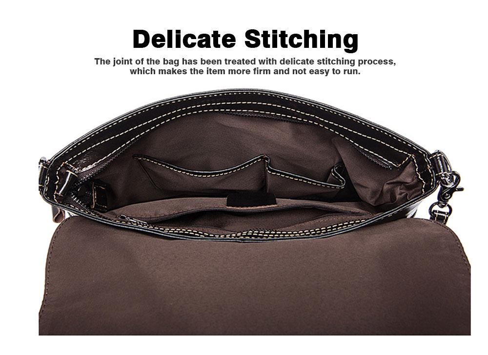 Fashion Business Flip Shoulder Bag Crossbody Bag for Men, Soft Smooth Top Layer Leather Briefcase Messenger Laptop Bag 3