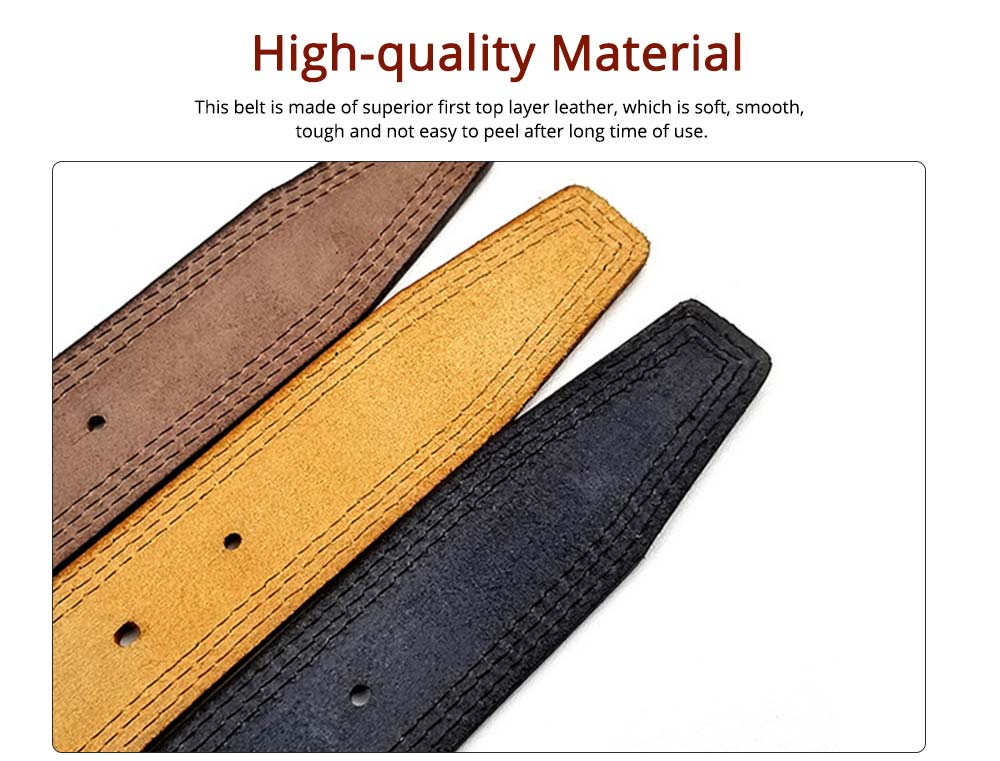 Luxury Minimalist Fashion Mens Leather Buckle Belt with Paint Edge, Soft Smooth First Leather Layer Casual Dress Waistband for Men 1