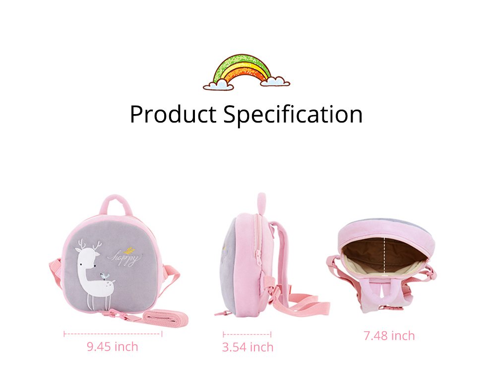 Prevent Loss Children Backpack with Traction Rope, Cute Cartoon Pattern Kindergarten Babies Shoulders Bag with Safety Detachable Buckle 8