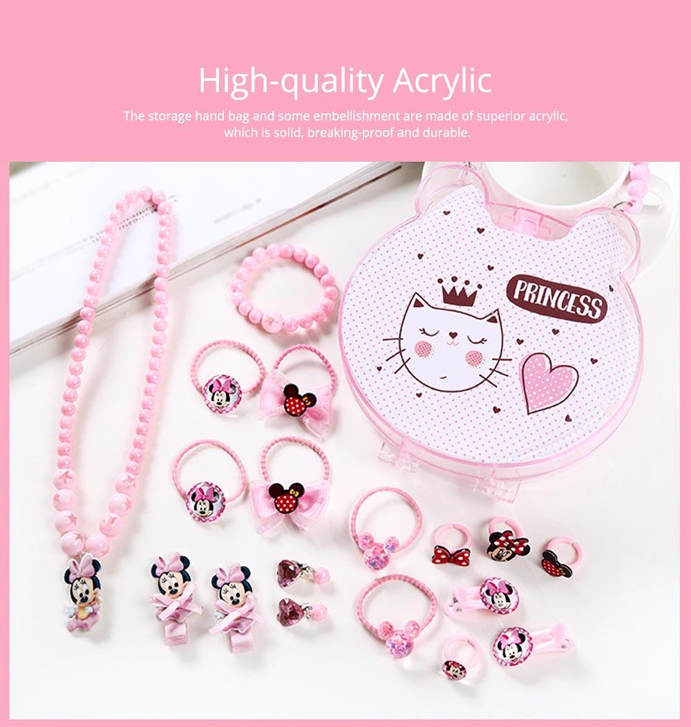 Creative Elegant Hair Accessories Necklace Bracelet Rings Suit, Cute Carton Decoration Acrylic Hand Bag Box Present for Girls 1