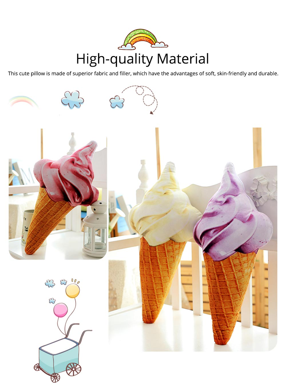 Cute Creative Life-like Ice Cream Model Bolster Toy, Elegant Simulation Pillow Doll Home Decoration Children Present Gift 1