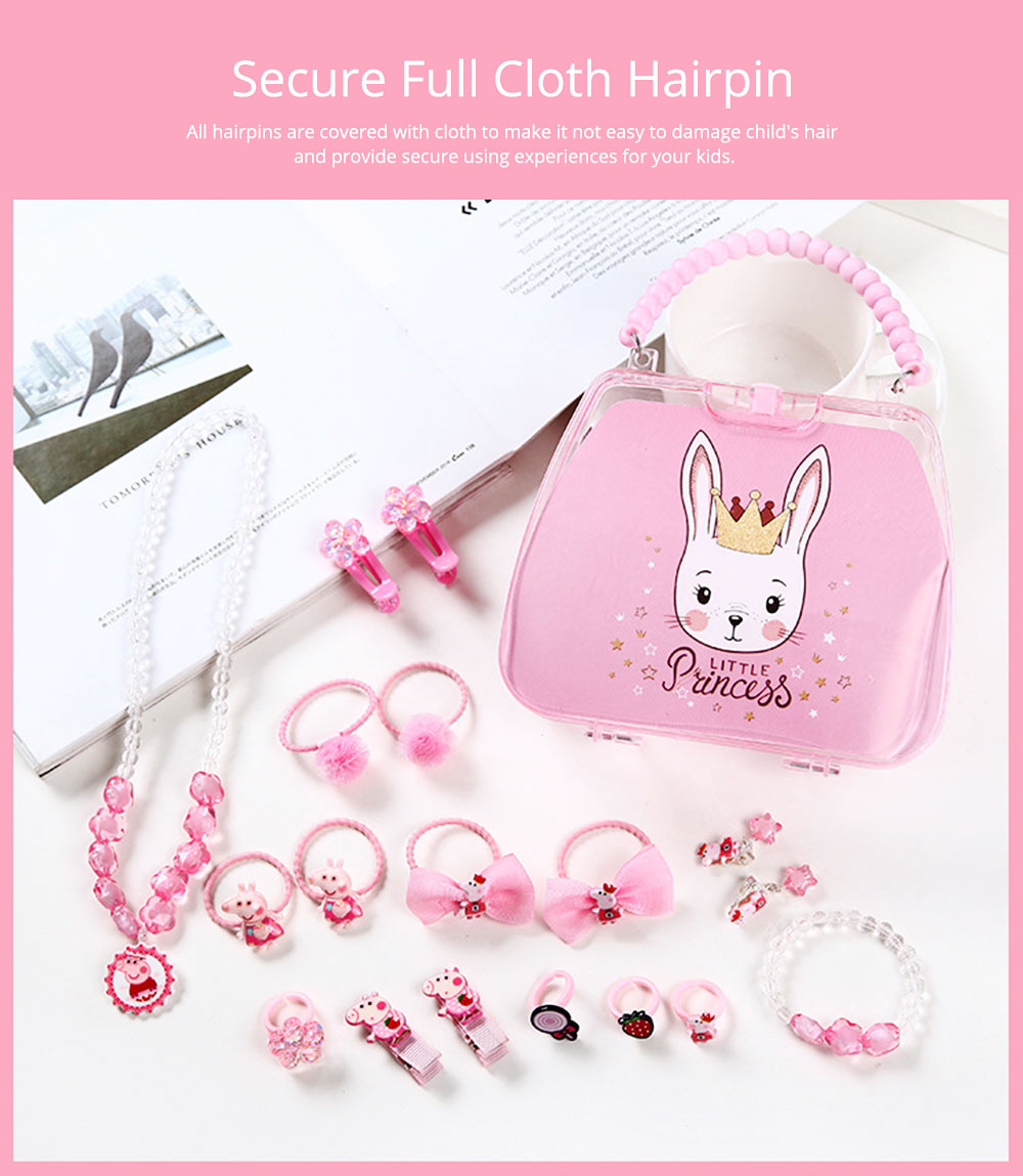 Creative Elegant Hair Accessories Necklace Bracelet Rings Suit, Cute Carton Decoration Acrylic Hand Bag Box Present for Girls 3