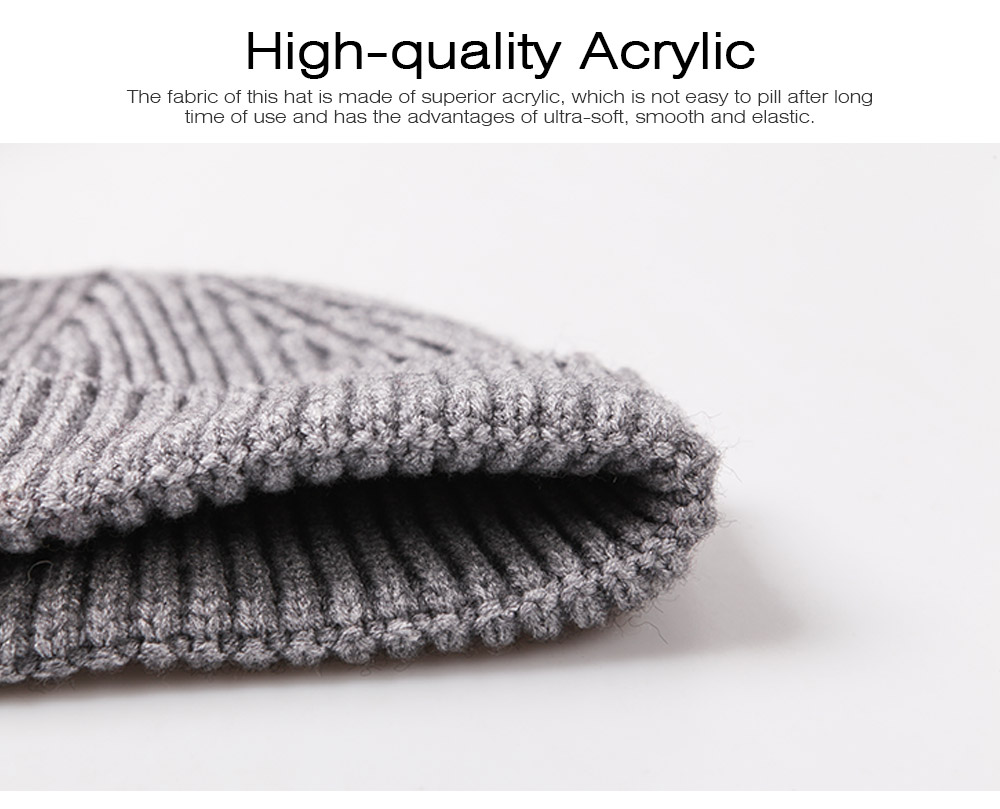 Minimalist Fashion Men Warm Knitted Wool Beanie, Winter Autumn Ultra-soft Elastic Acrylic Hat Cap for Men 1