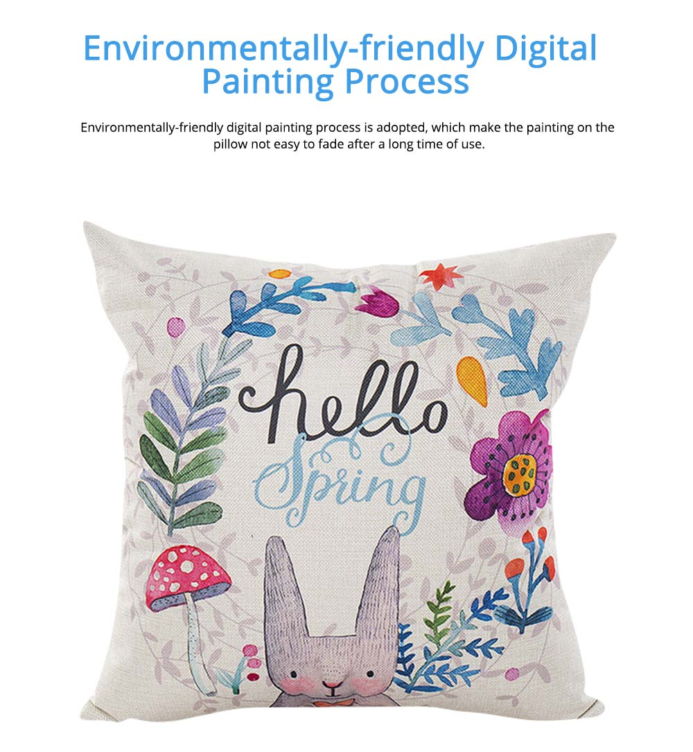 Cute Rabbit Pattern Linen Pillowcase without Pillow Core, Colorful Digital Painting Carton Soft Breathable Fabric Bolster Pillow Slip 2