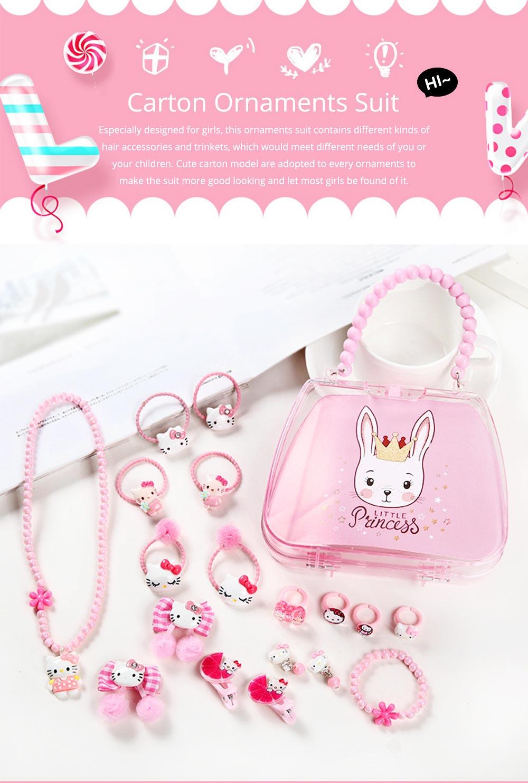 Creative Elegant Hair Accessories Necklace Bracelet Rings Suit, Cute Carton Decoration Acrylic Hand Bag Box Present for Girls 0