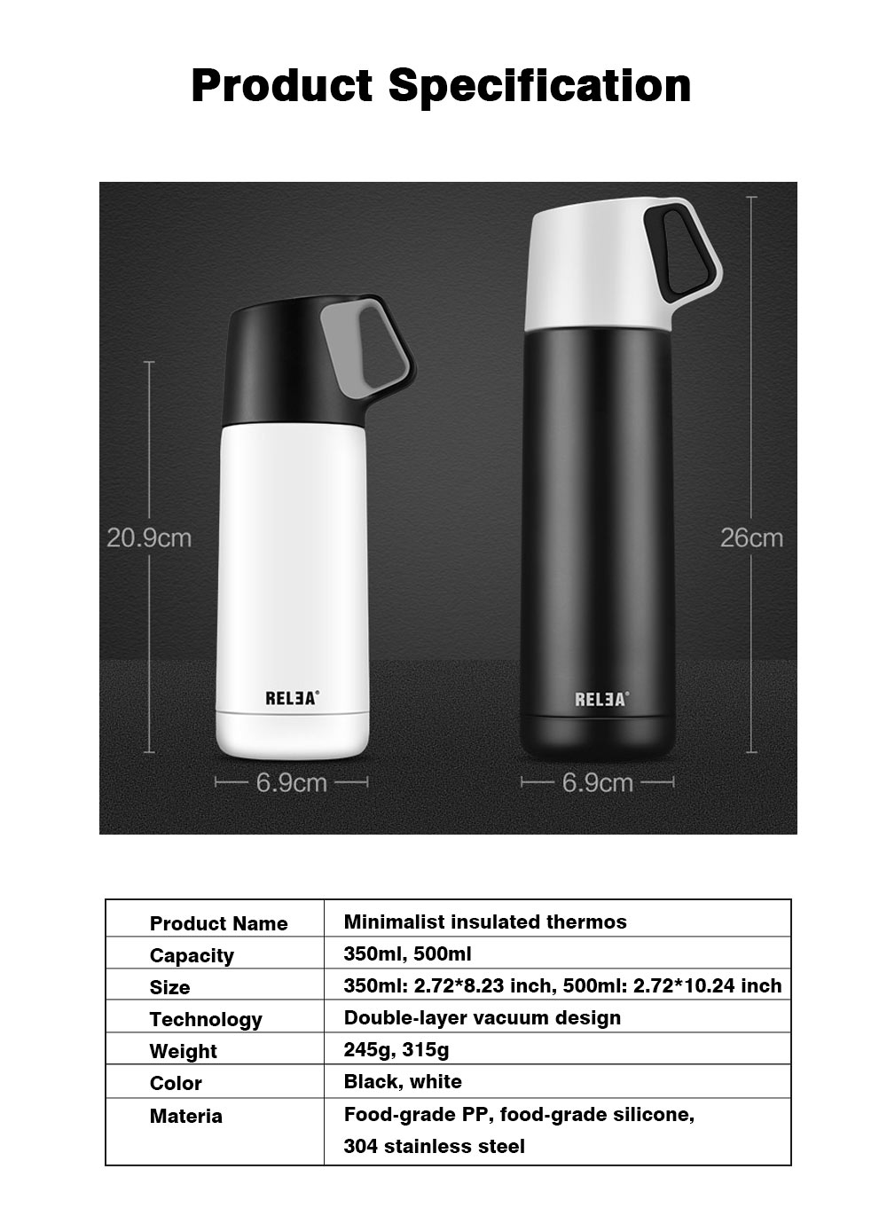 Minimalist Portable Stainless Steel Insulated Thermos Bottle, Vacuum Flask Mug with Functional Lid For Couples Children 16