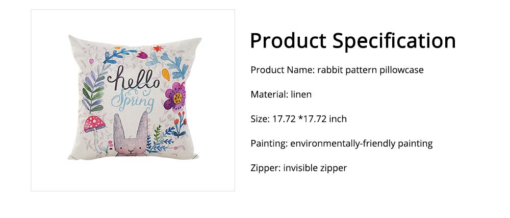 Cute Rabbit Pattern Linen Pillowcase without Pillow Core, Colorful Digital Painting Carton Soft Breathable Fabric Bolster Pillow Slip 6