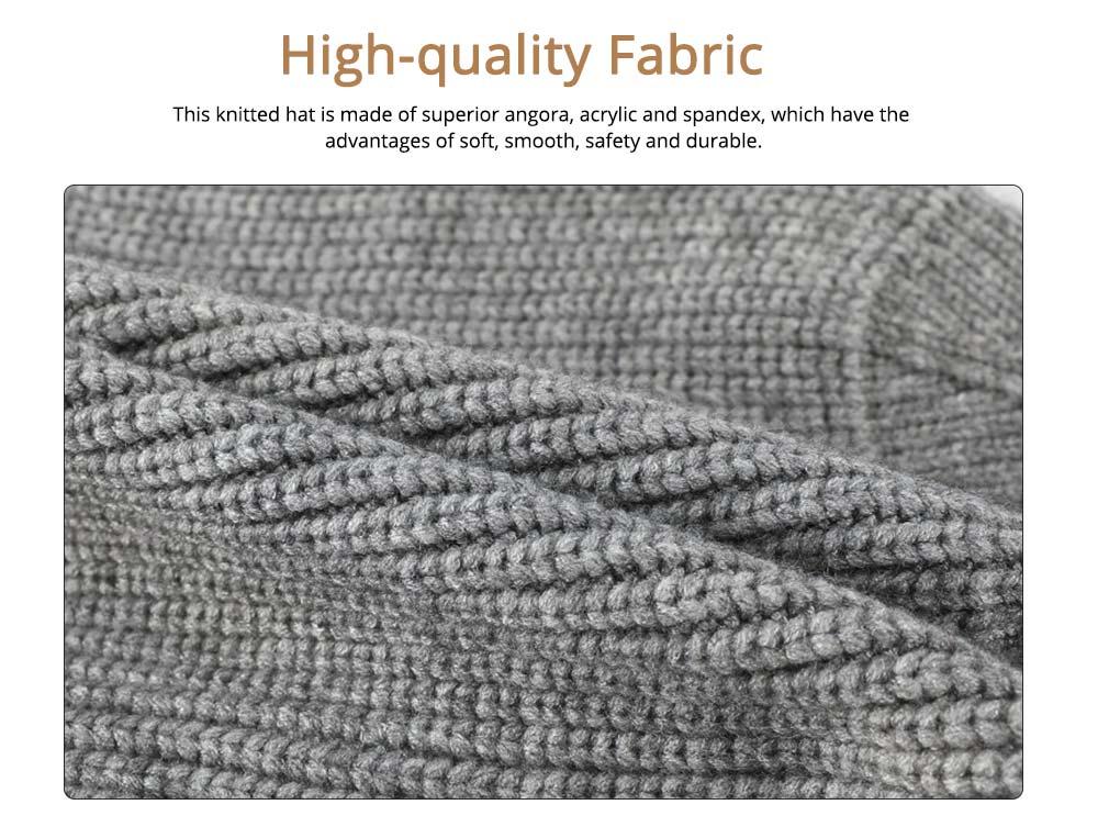 Ultra-soft Warm Thicken Angora Men Beanie, Minimalist Double-layers Winter Autumn Knitted Cap Hat 1