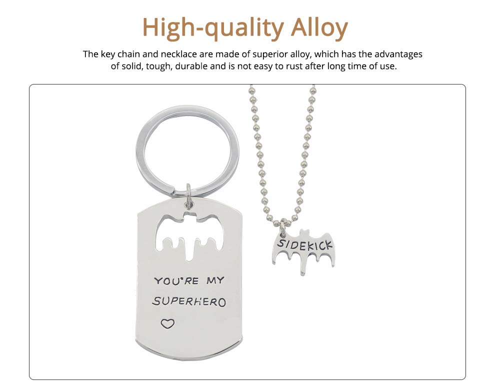 Creative Key Chain Necklace Suit with You're My Superhero Letters, Stylish Fathers' Day Present Solid Alloy Pendant Accessories Set 1