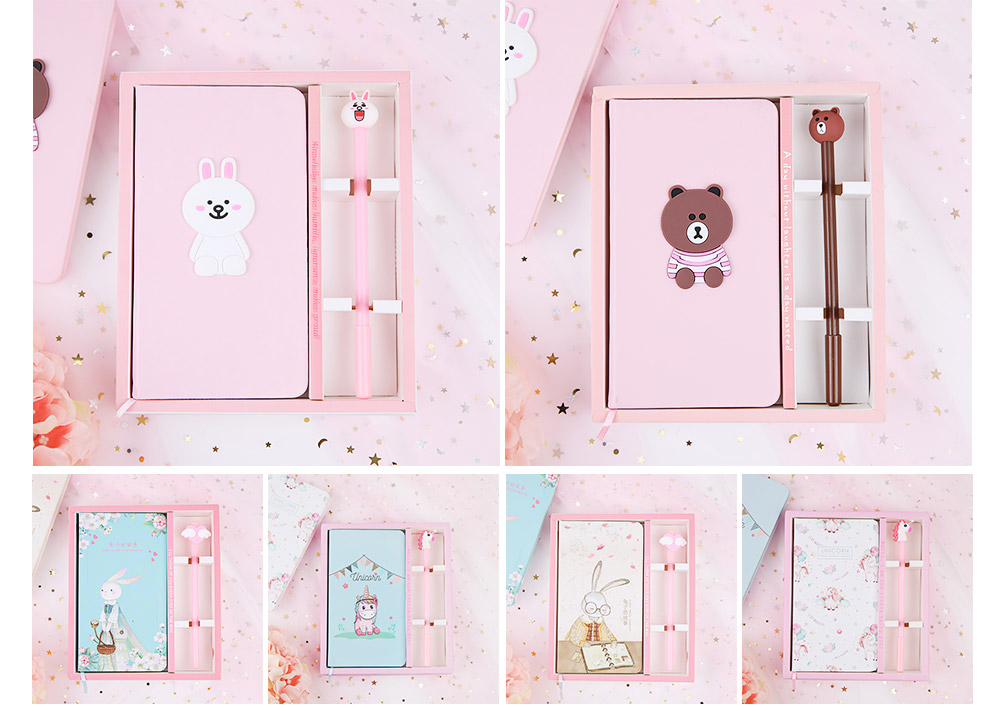 Cute Cartoon Notepads with Pen, Fancy Notepads & Pens Set Gifts for Girls 8