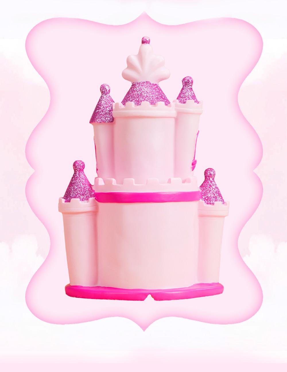 Creative Princess Castle Money Box for Girls, Delicate Elegant Pink Fairytale Castle Birthday Present Piggy Bank 1