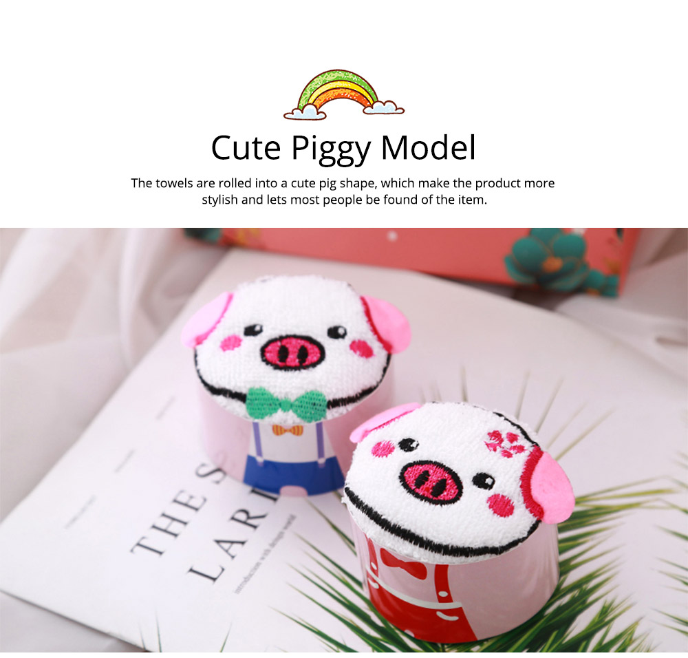 Cute Delicate Pig Pattern Embroidery Little Towel for Children, Creative Lively Piggy Towel Gift Box for Lovers Girls Friends 6
