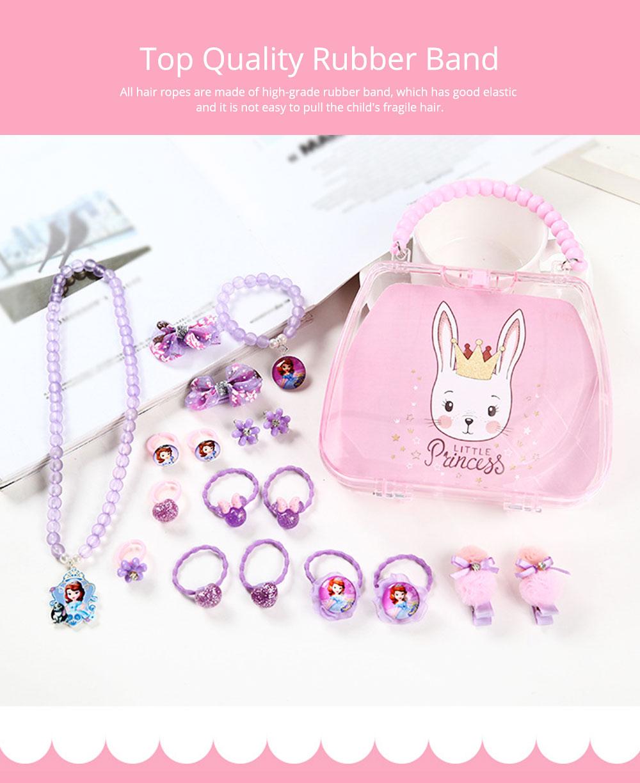 Creative Elegant Hair Accessories Necklace Bracelet Rings Suit, Cute Carton Decoration Acrylic Hand Bag Box Present for Girls 5