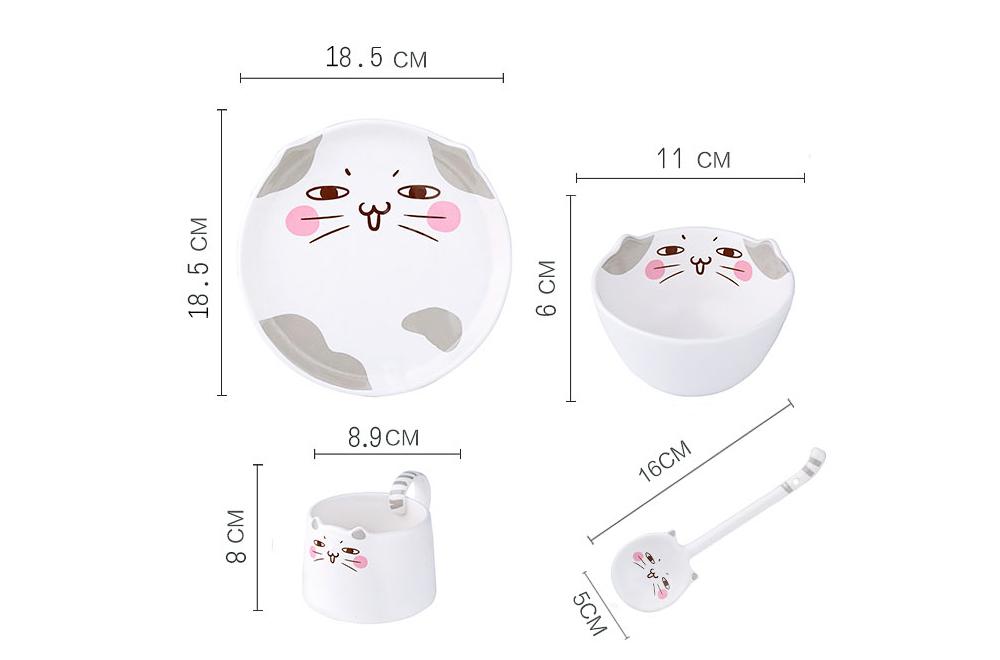 Cute Creative Carton Animal Model Ceramics 4PCS Tableware Suit, Functional Fancy Bowl Cup Spoon Dish Set for Children 12