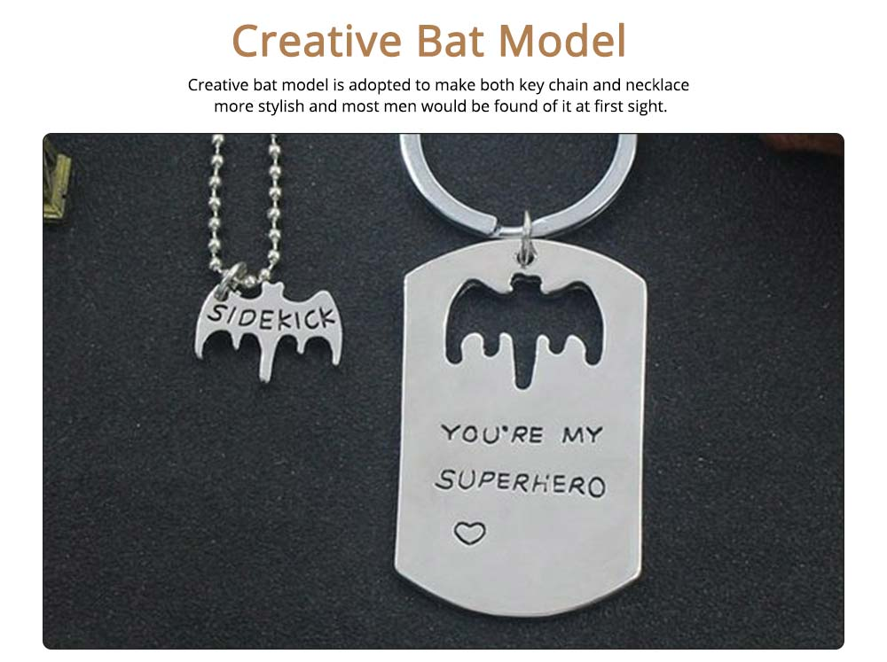 Creative Key Chain Necklace Suit with You're My Superhero Letters, Stylish Fathers' Day Present Solid Alloy Pendant Accessories Set 3