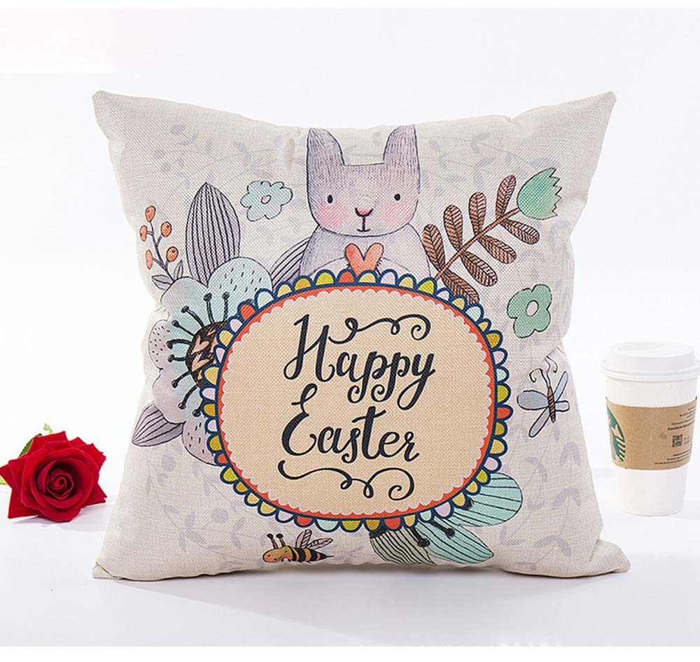 Cute Rabbit Pattern Linen Pillowcase without Pillow Core, Colorful Digital Painting Carton Soft Breathable Fabric Bolster Pillow Slip 5