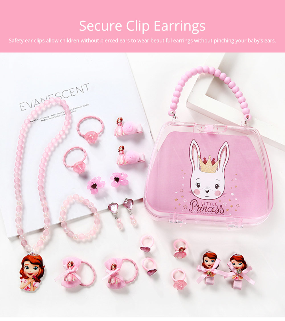 Creative Elegant Hair Accessories Necklace Bracelet Rings Suit, Cute Carton Decoration Acrylic Hand Bag Box Present for Girls 6