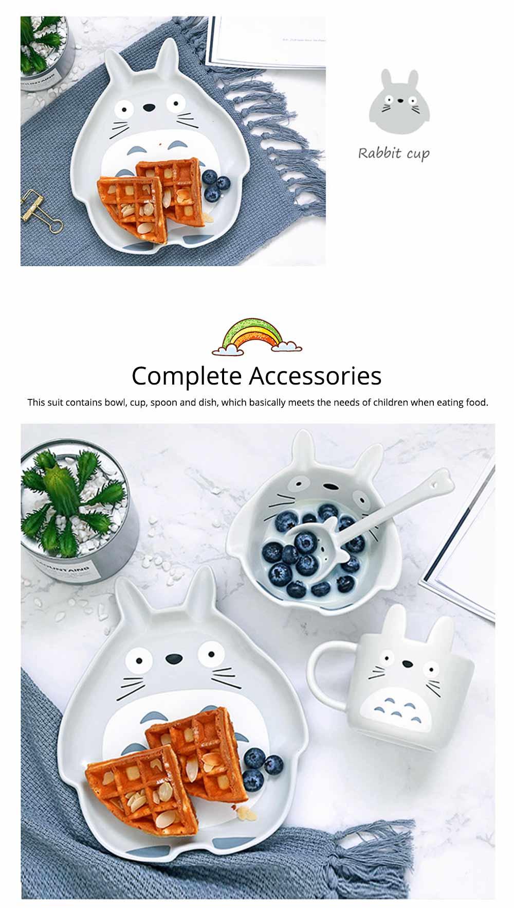 Cute Creative Carton Animal Model Ceramics 4PCS Tableware Suit, Functional Fancy Bowl Cup Spoon Dish Set for Children 3