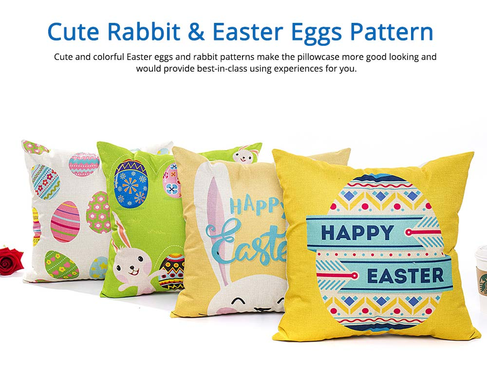 Cute Carton Easter Eggs Rabbit Pattern Linen Pillowcase, Colorful Painting Smooth Pillow Slip for Easter Day 4