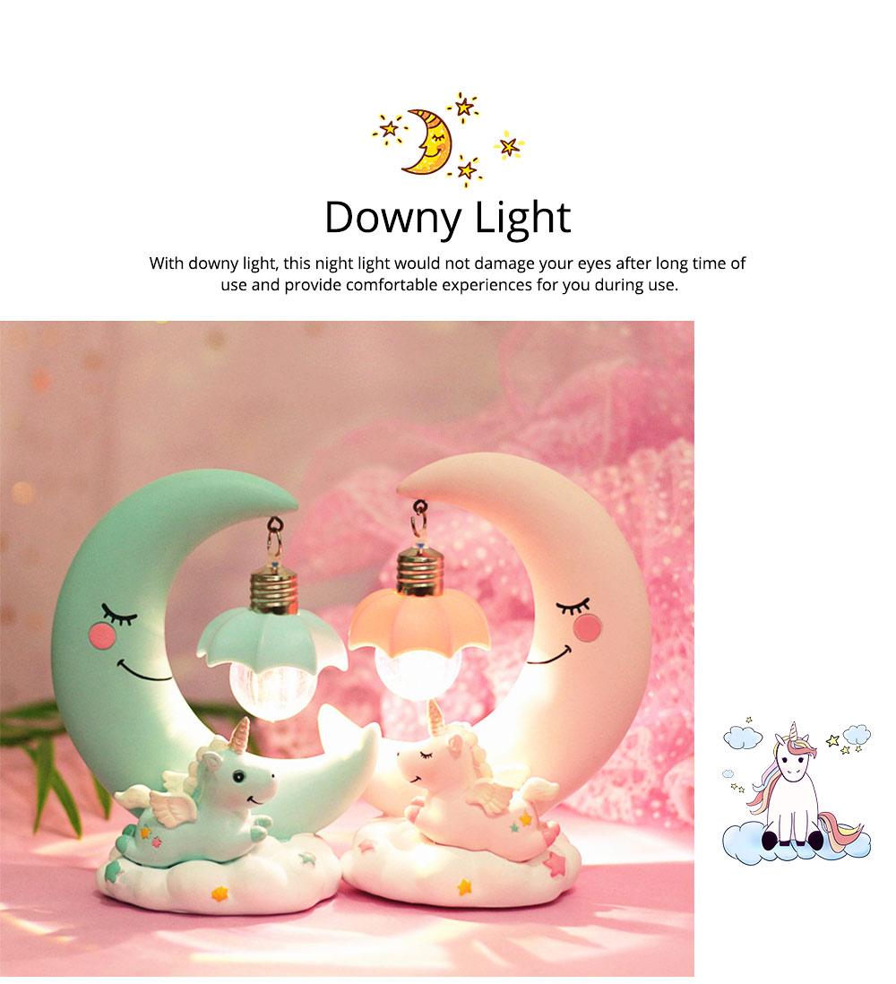 Fancy Unicorn Moon Electronic Night Light, Cute Resin Home Decoration Ornament Tabletop Furnishing 5