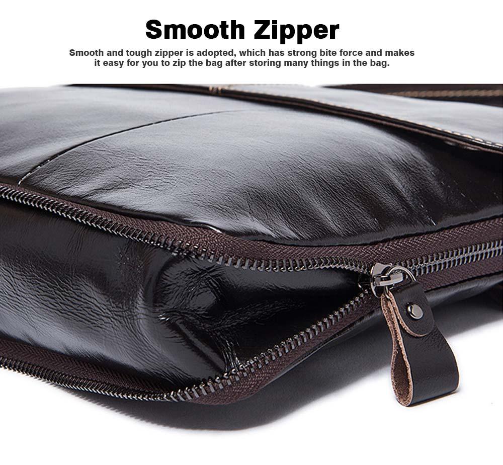 Fashion Business Flip Shoulder Bag Crossbody Bag for Men, Soft Smooth Top Layer Leather Briefcase Messenger Laptop Bag 6