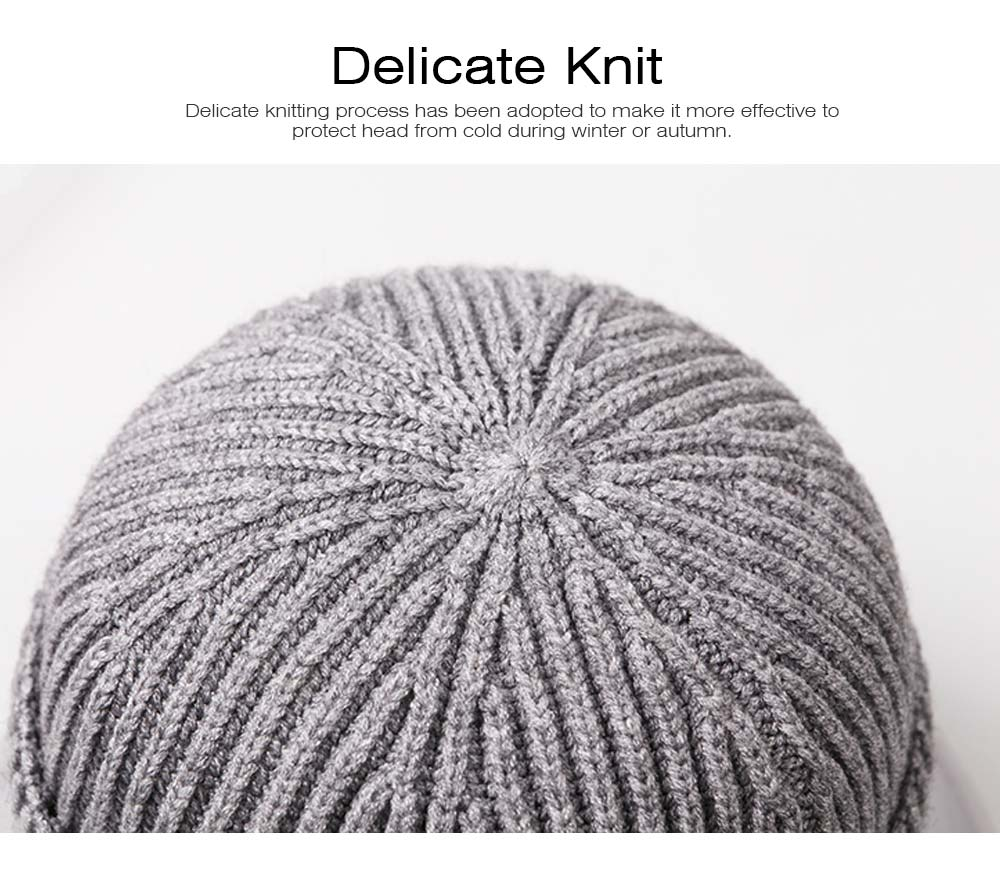 Minimalist Fashion Men Warm Knitted Wool Beanie, Winter Autumn Ultra-soft Elastic Acrylic Hat Cap for Men 4