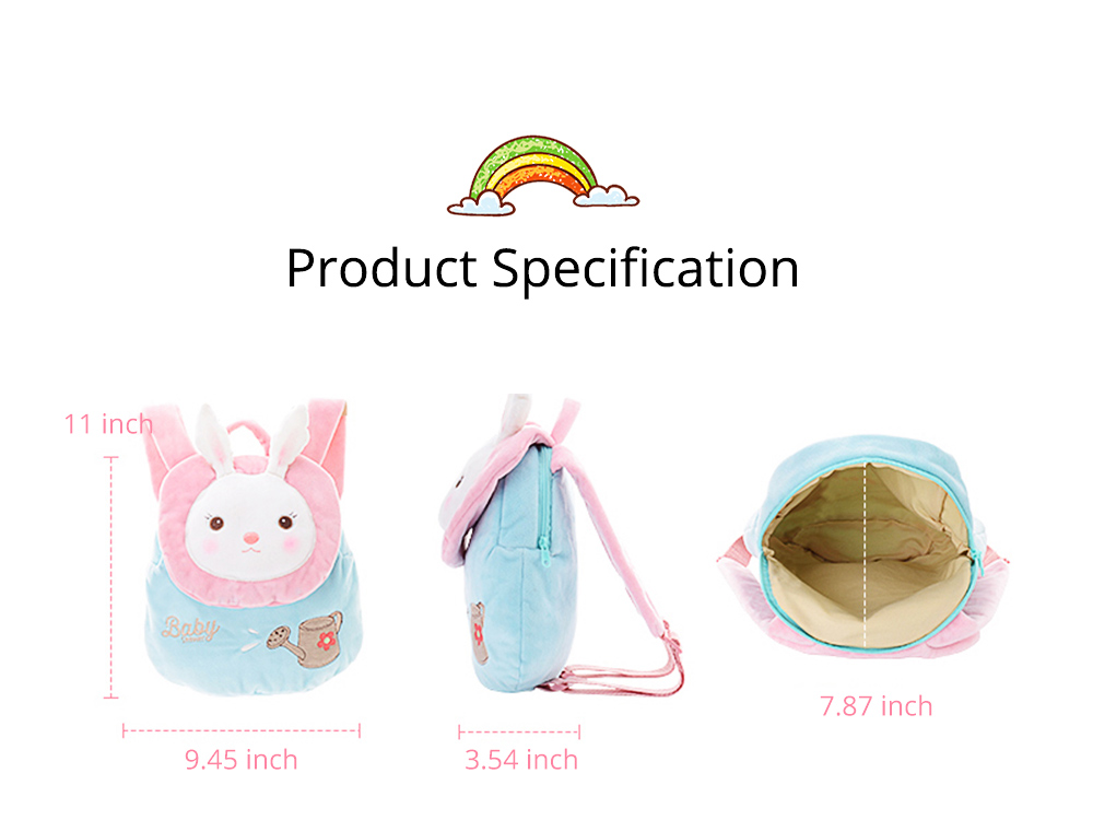 Cute Tiramitu Little Backpack for 1-3 Years Old Children, Large Capacity Smooth Short Plush Rabbit Rucksack Birthday Present for Boys Girls 8
