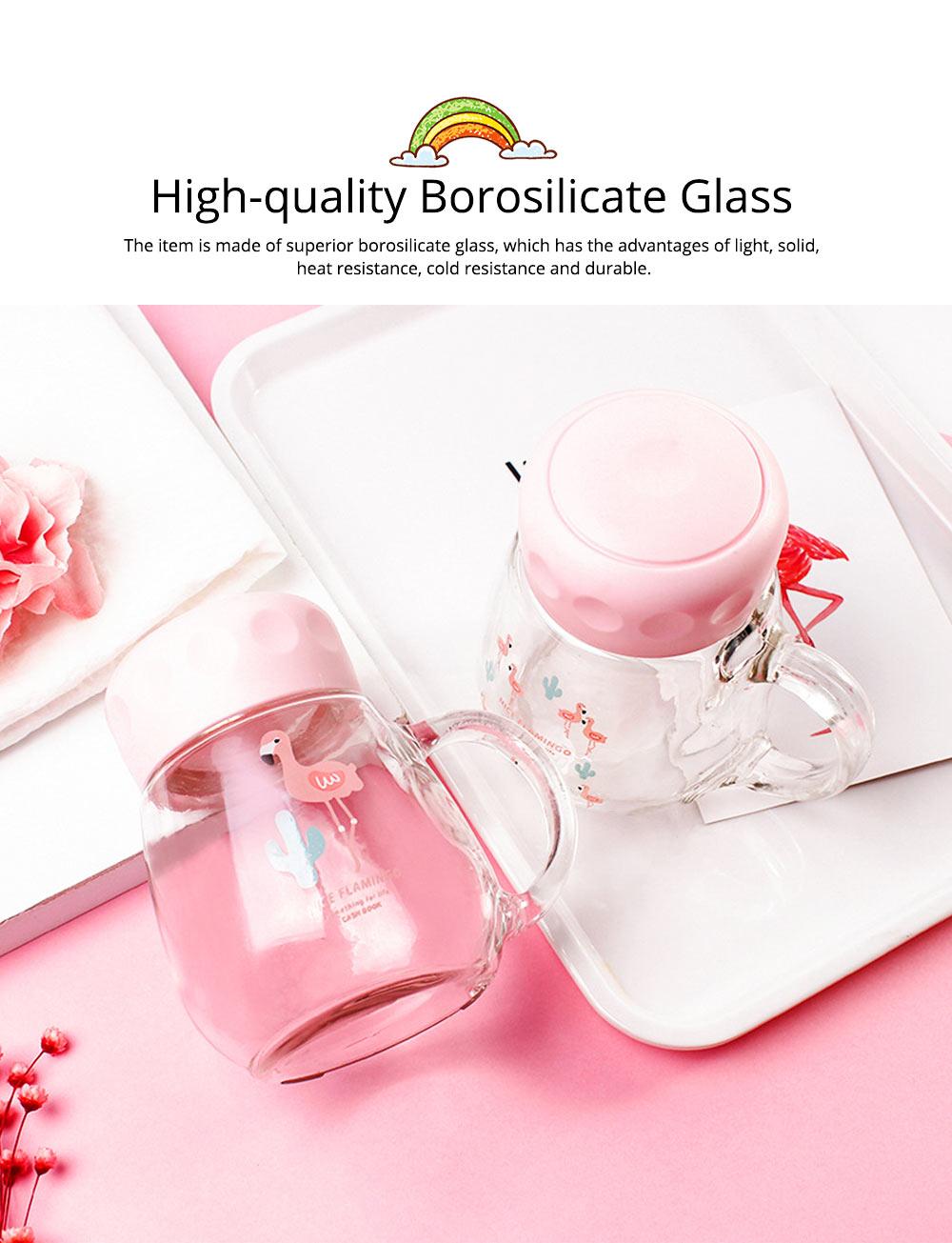 Cute Pink Flamingo Borosilicate Glass Cup, Delicate Fancy Birthday Present Prizes Mug for Girls Children 1