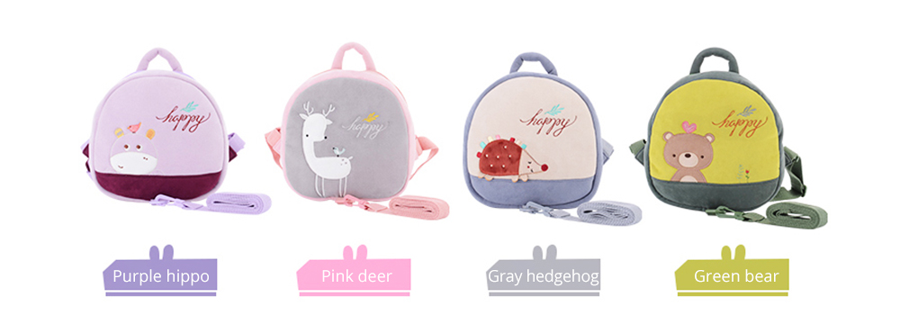 Prevent Loss Children Backpack with Traction Rope, Cute Cartoon Pattern Kindergarten Babies Shoulders Bag with Safety Detachable Buckle 9
