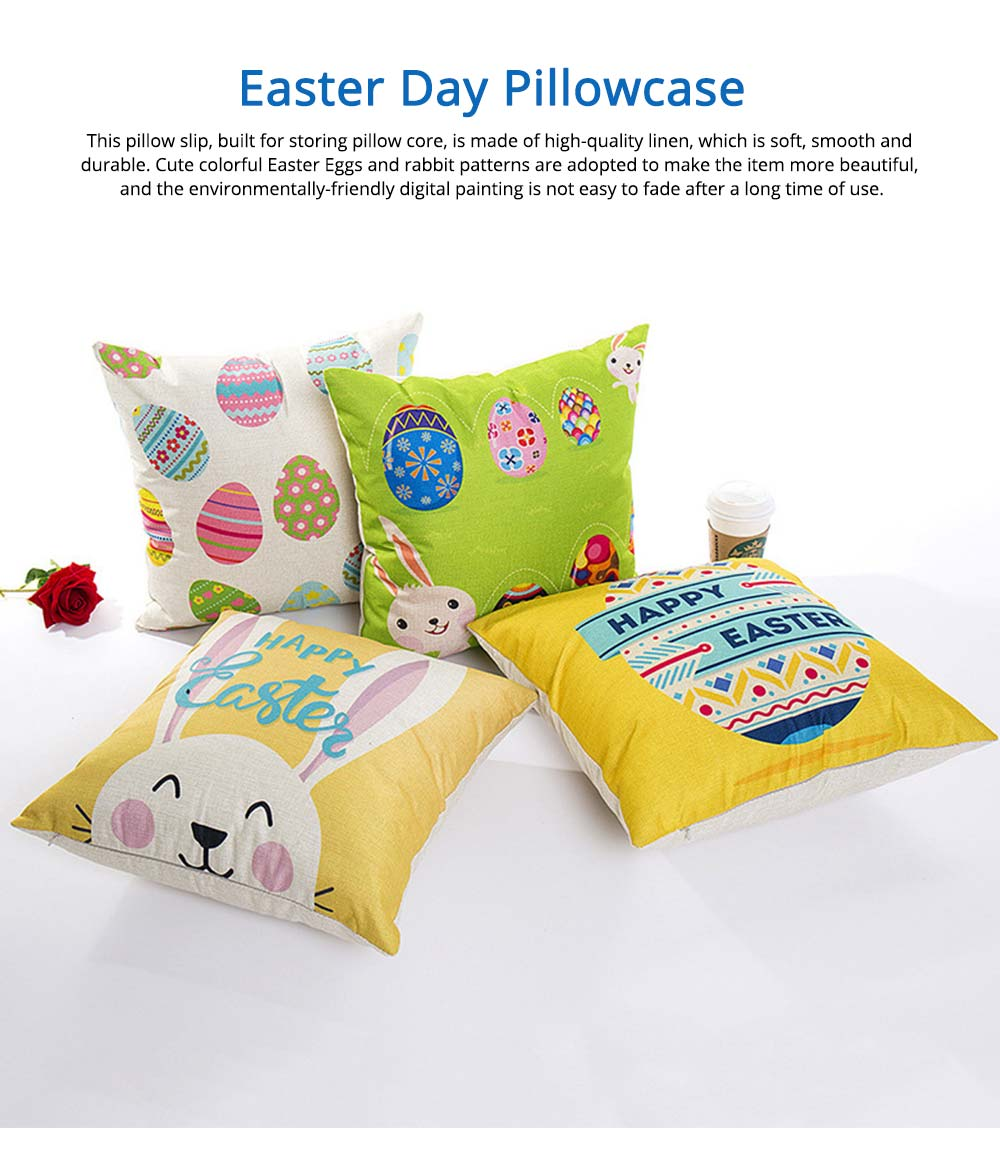 Cute Carton Easter Eggs Rabbit Pattern Linen Pillowcase, Colorful Painting Smooth Pillow Slip for Easter Day 0