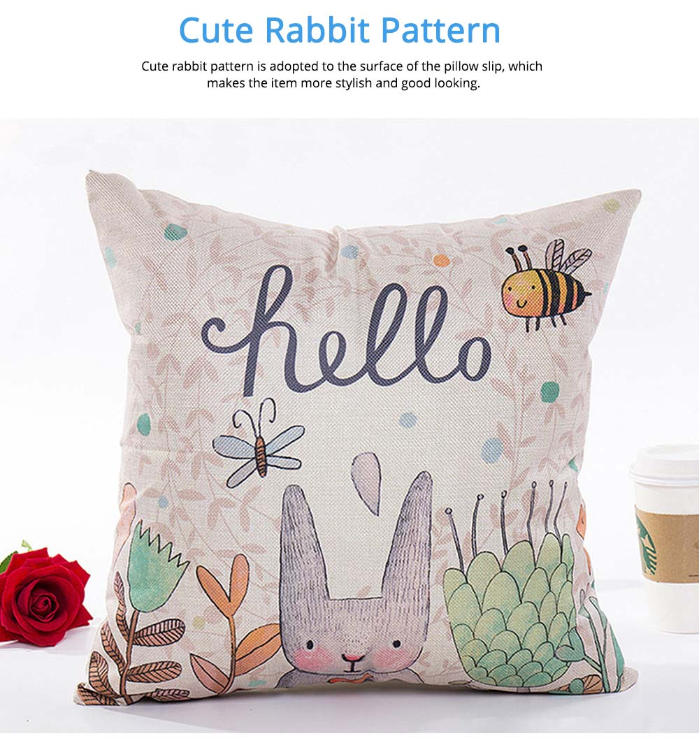Cute Rabbit Pattern Linen Pillowcase without Pillow Core, Colorful Digital Painting Carton Soft Breathable Fabric Bolster Pillow Slip 4