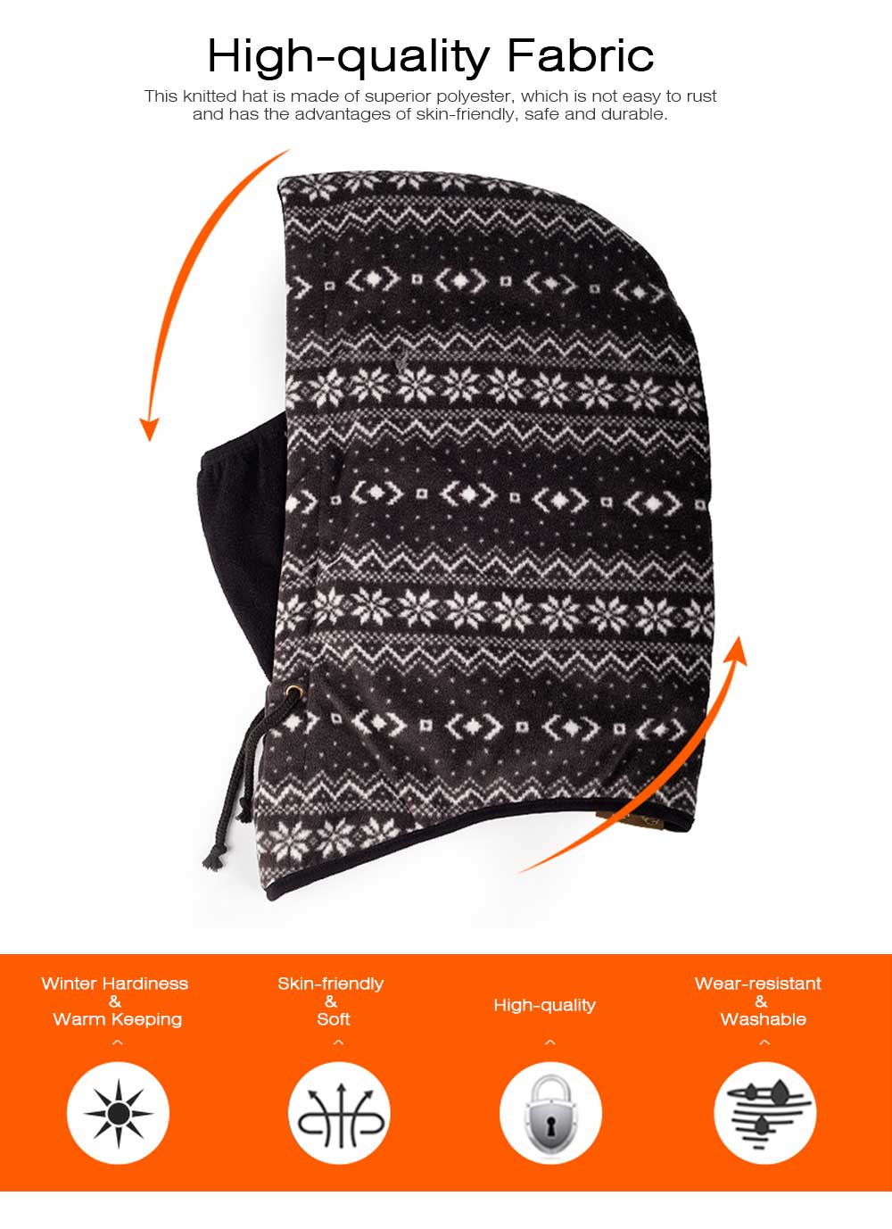 Stylish Snowflake Pattern Outdoors Beanie with Face Mark, Warm Soft Polyester Waterproof Knitted Hat for Men Women 1