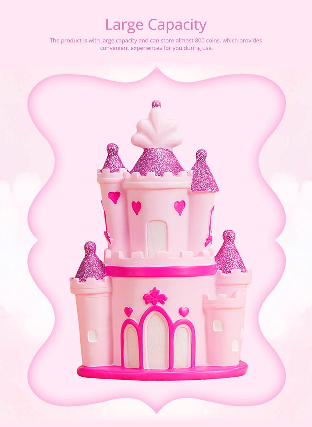 Creative Princess Castle Money Box for Girls, Delicate Elegant Pink Fairytale Castle Birthday Present Piggy Bank 2