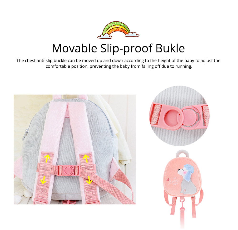 Cute Poodle Dog Pattern Babies Backpack with Traction Rope, Kindergarten Children Double Shoulders Bag with Safety Slip-proof Buckle 4