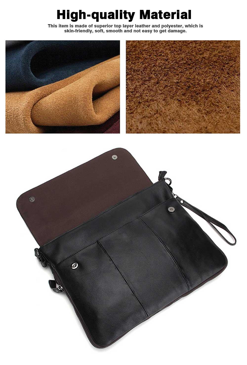 Fashion Business Flip Shoulder Bag Crossbody Bag for Men, Soft Smooth Top Layer Leather Briefcase Messenger Laptop Bag 1
