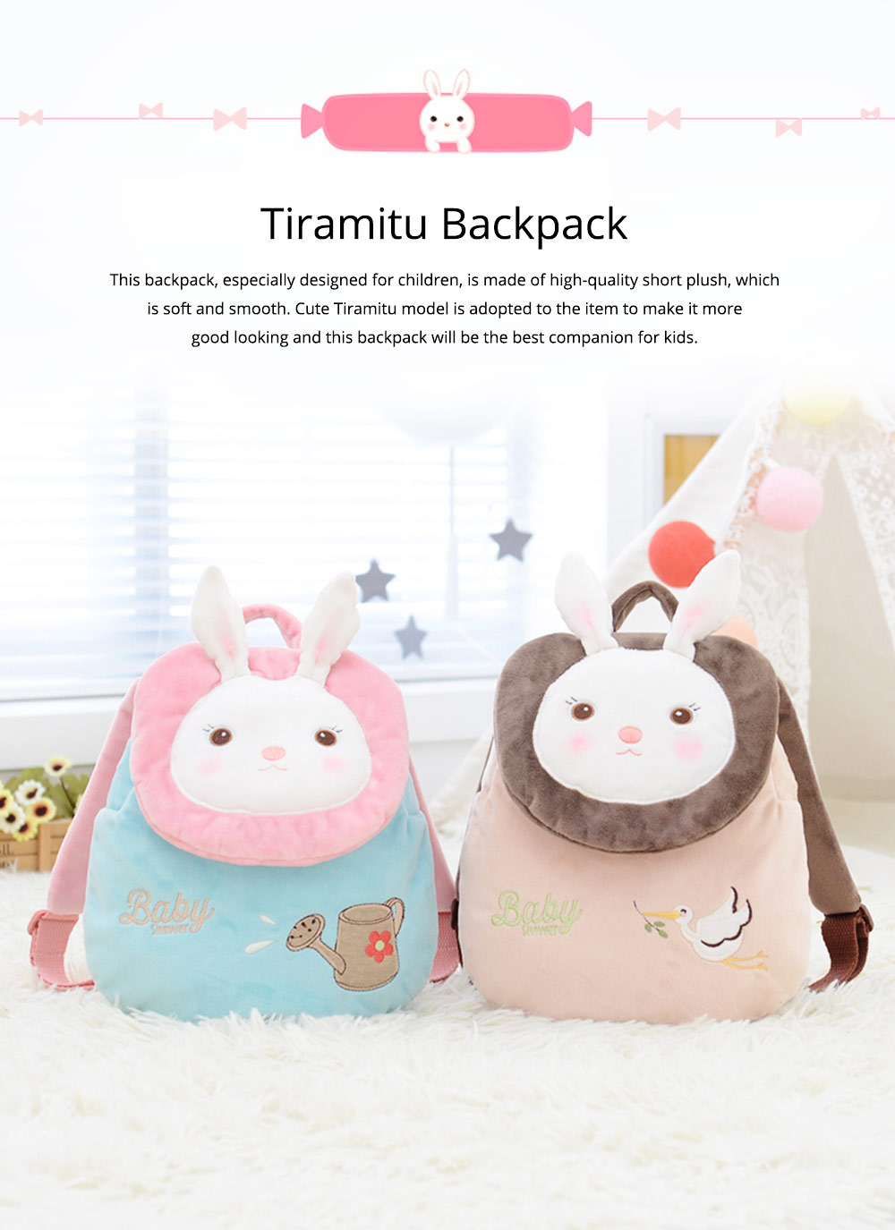 Cute Tiramitu Little Backpack for 1-3 Years Old Children, Large Capacity Smooth Short Plush Rabbit Rucksack Birthday Present for Boys Girls 0