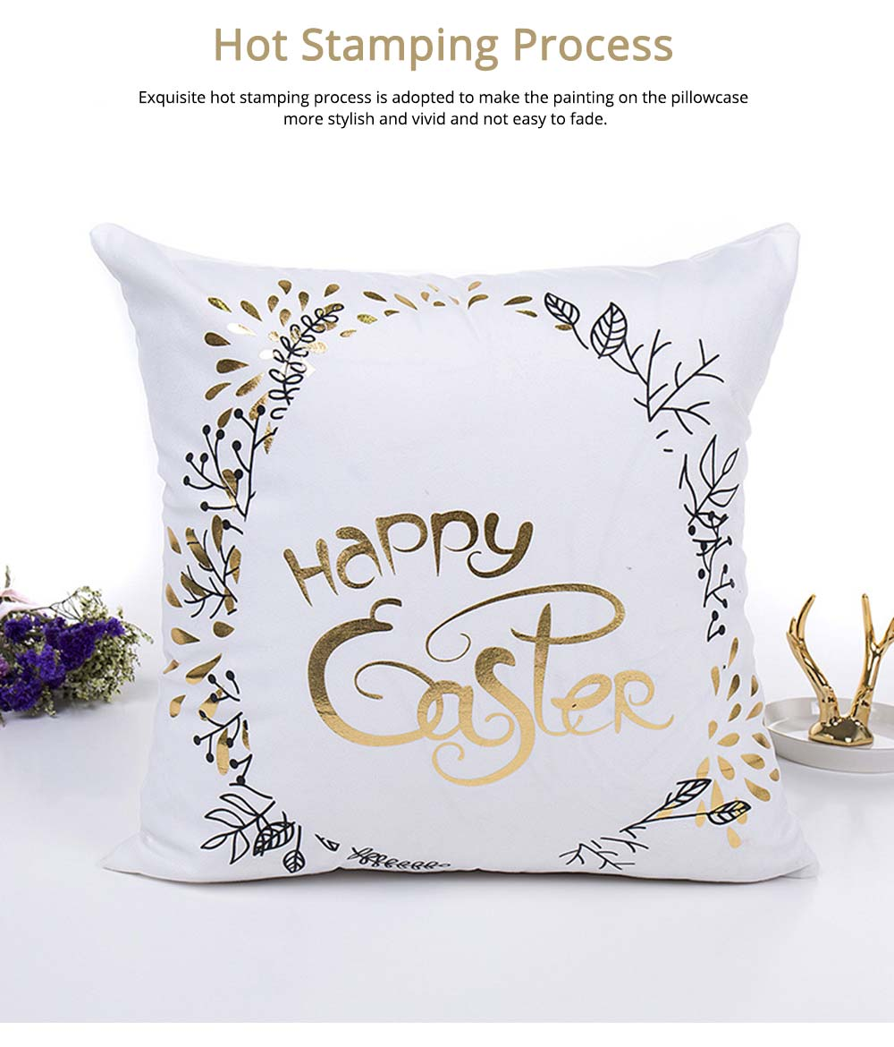 Delicate Easter Pillow Slip with English Letter Rabbit Pattern Hot Stamping, Ultrasoft Polyester Minimalist Fancy Pillowcase for Easter Day 2