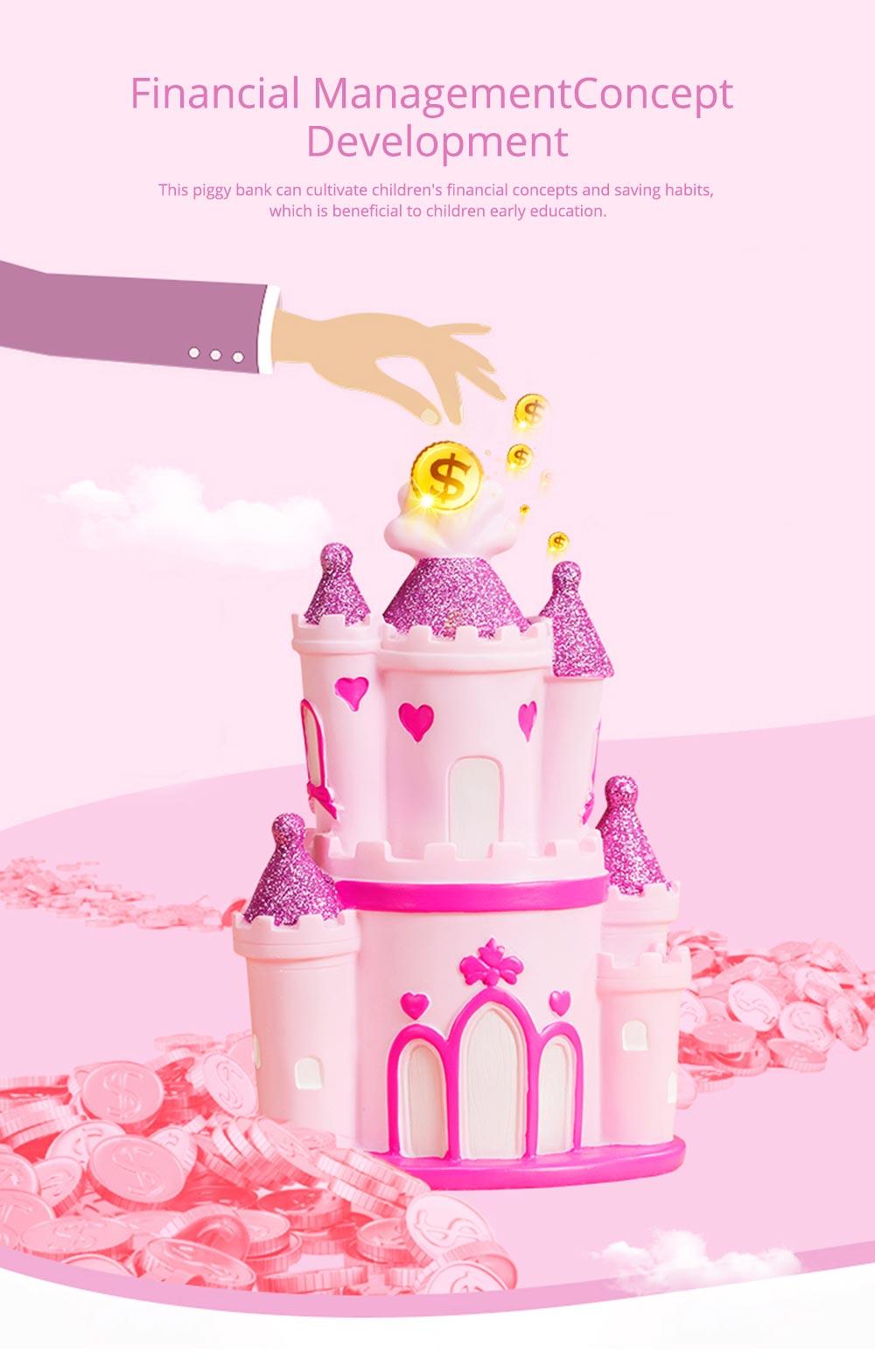 Creative Princess Castle Money Box for Girls, Delicate Elegant Pink Fairytale Castle Birthday Present Piggy Bank 3