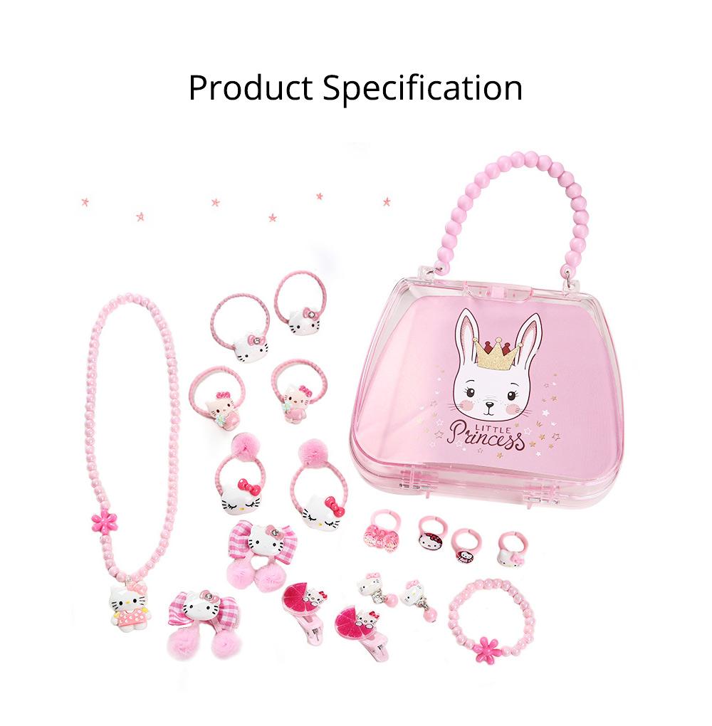 Creative Elegant Hair Accessories Necklace Bracelet Rings Suit, Cute Carton Decoration Acrylic Hand Bag Box Present for Girls 10