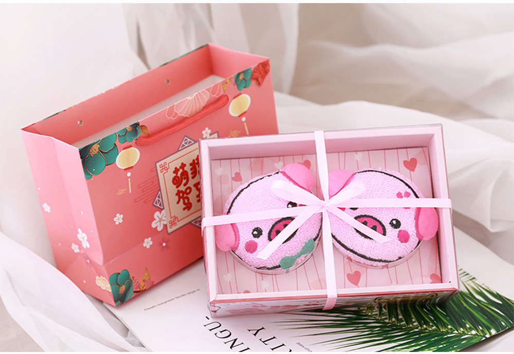 Cute Delicate Pig Pattern Embroidery Little Towel for Children, Creative Lively Piggy Towel Gift Box for Lovers Girls Friends 8