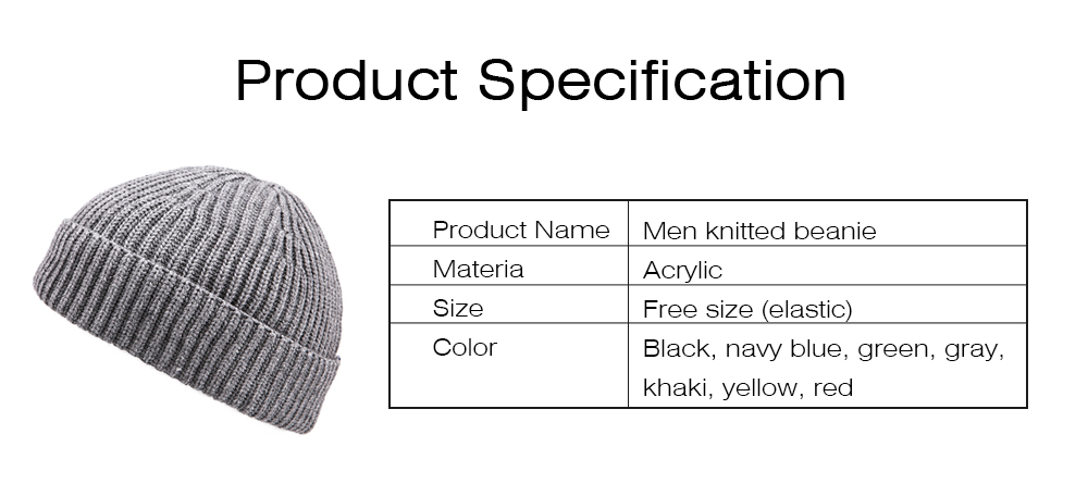 Minimalist Fashion Men Warm Knitted Wool Beanie, Winter Autumn Ultra-soft Elastic Acrylic Hat Cap for Men 6